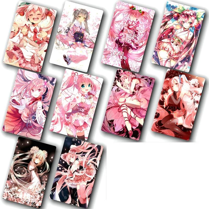 100pcs/lot Cartoon Sticker Toys Anime Hatsune Miku Card Sticker DIY Decoration Bus ID Card Stickers Classic Toys