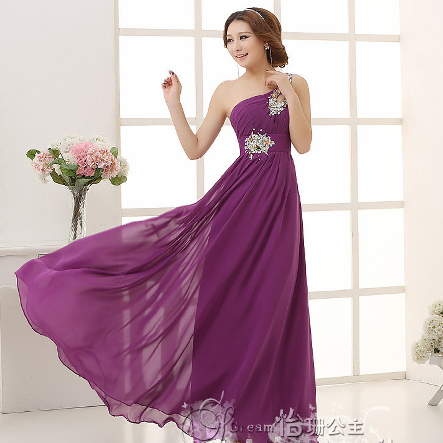 Robe demoiselle d'honneur 2019 new chiffon crystal one shoulder A line purple bridesmaid dresses long