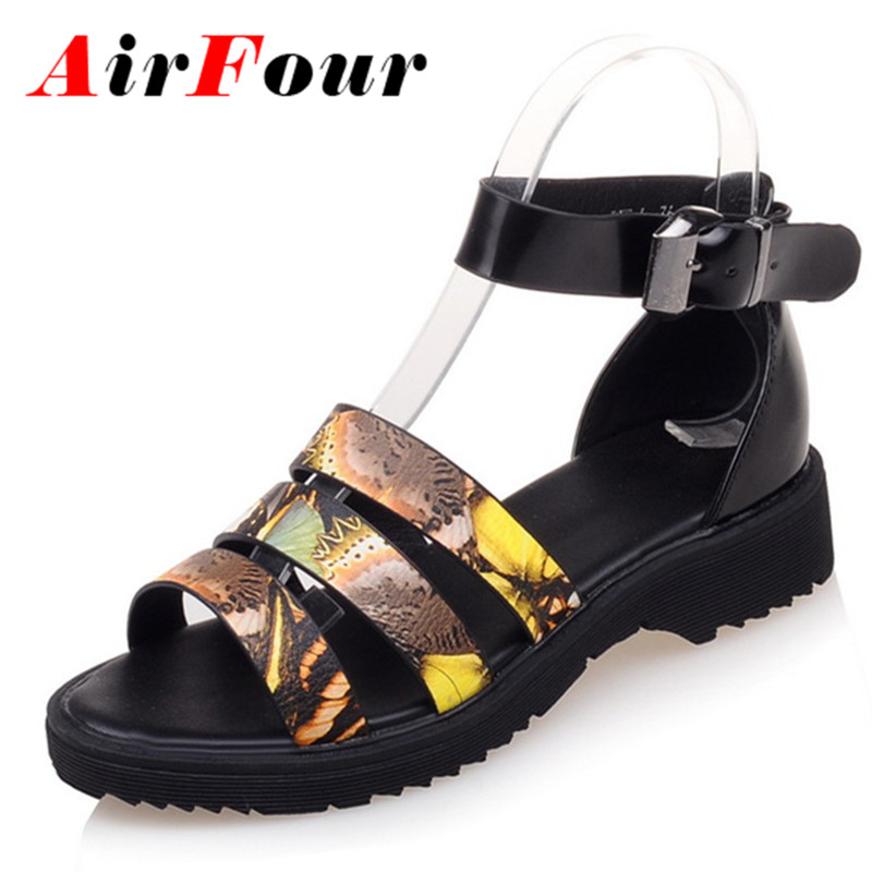 ФОТО Airfour Fashion Women Low Heels Open Toe Buckle Strap Shoes Woman Size 34-39 Gray Sandals Shoes Summer Platform Casual Shoes