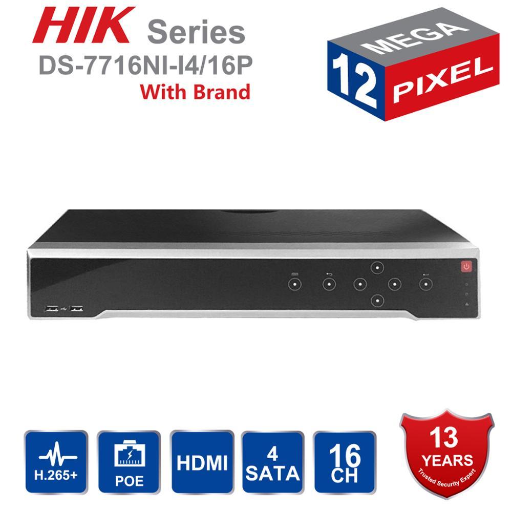 HIK Original Inglês H.265 4 K NVR 16CH DS-7716NI-I4/16 P POE NVR Profissional para CCTV Sistema de Câmera HDMI VGA Plug & Play NVR