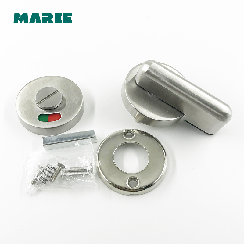 Stainless WC Toilet Handle Door Lock with Red or Green Tips for Bathroom Accessory Public Place DIY