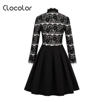 Clocolor Women Vintage Lace Dress Black Hollow Long Sleeve Tassel Patchwork Autumn Female Retro Party Elegant