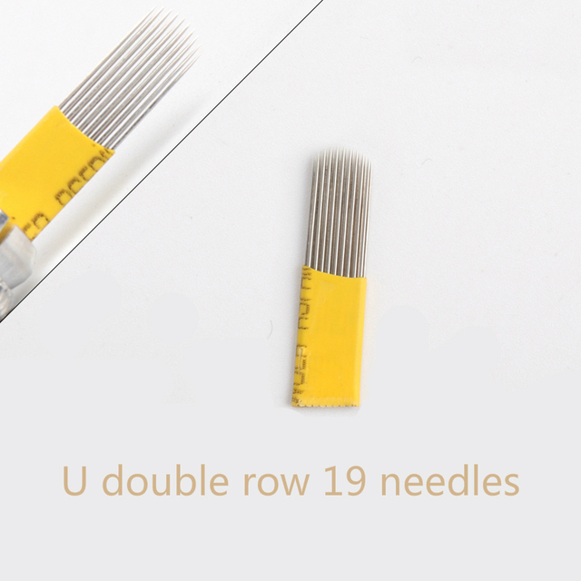 50Pcs Fog 19 pins U shape Double Row Microblading Shading Blades Needles For Permanent Make Up Fog Eyebrow Tattoo Manual Pen
