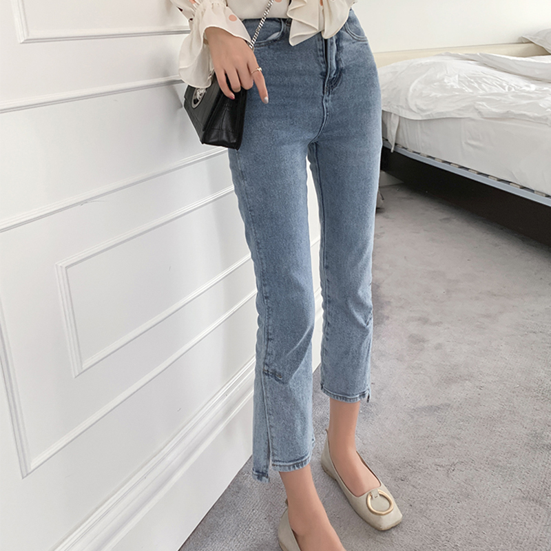 MiShow 2019 summer new collection women casual wash blue ankle-length high-waist flares slim   jeans   MX19B2360