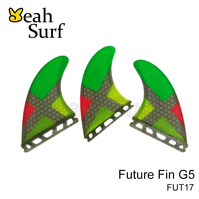 Fremtidige G5 finner Honycom Fiber Surfboard Quilhas Future Tri Fin SUP Farverige Surfing Fin Gratis Shipping Paddle Board