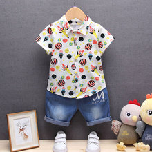 Newborn Baby Boy Clothes Set Summer 2017 Blouse+Pant Suit Infant Boys Clothing Outerwear Sport Casual Cloth Baby Boy Sets(China)