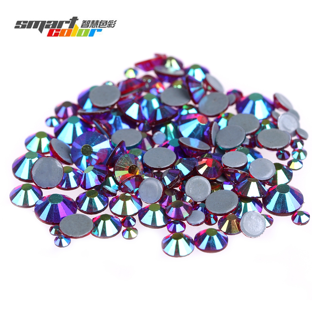 Siam AB Flatback Hotfix Glass Rhinestones Round Iron On Strass Diamonds For Garment Stone With Glue Backing DIY Supplies flatback hotfix round glass rhinestones iron on strass garment rhinestones with glue backing light sapphire ab color