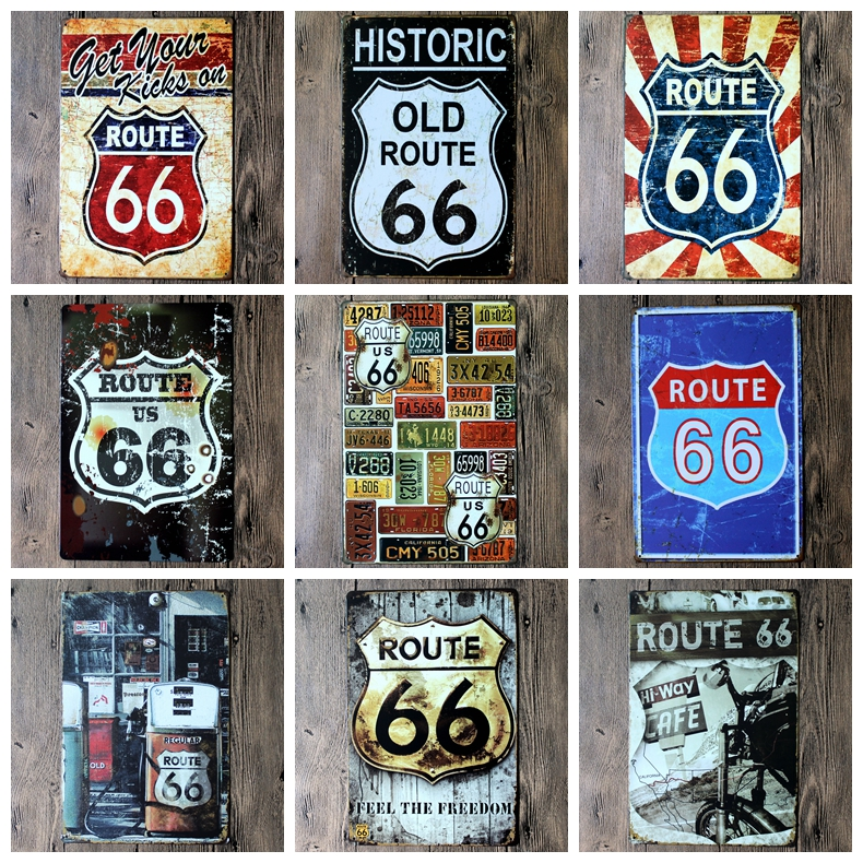 Route 66 Logo Plaque Vintage Metal Painting Wall Sticker Iron Sign Board Decorative Plates Poster Wholesale 20X30 CM