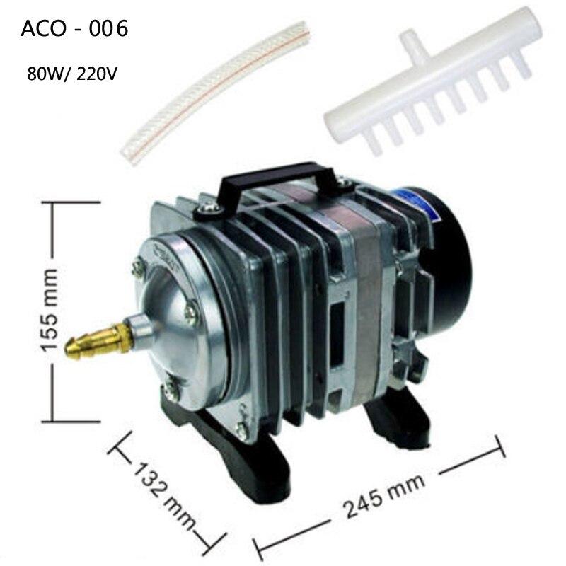 ACO-006 compresseur d'air électromagnétique aquarium pompe à Air réservoir de poisson oxygène pompe à air 80 W 220 V 88L/min 0,030mpa akvaryum pompe à air