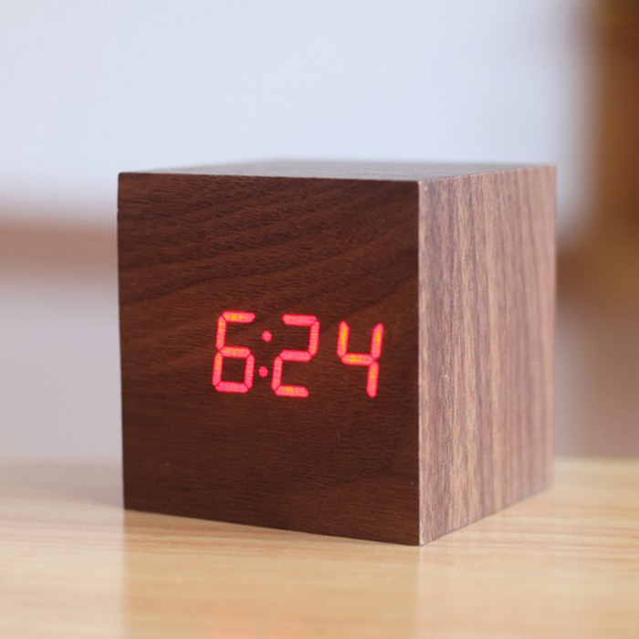 Alarm clock LED creative voice control digital electronic alarm clock silence students luminous bed square lovely wooden clock