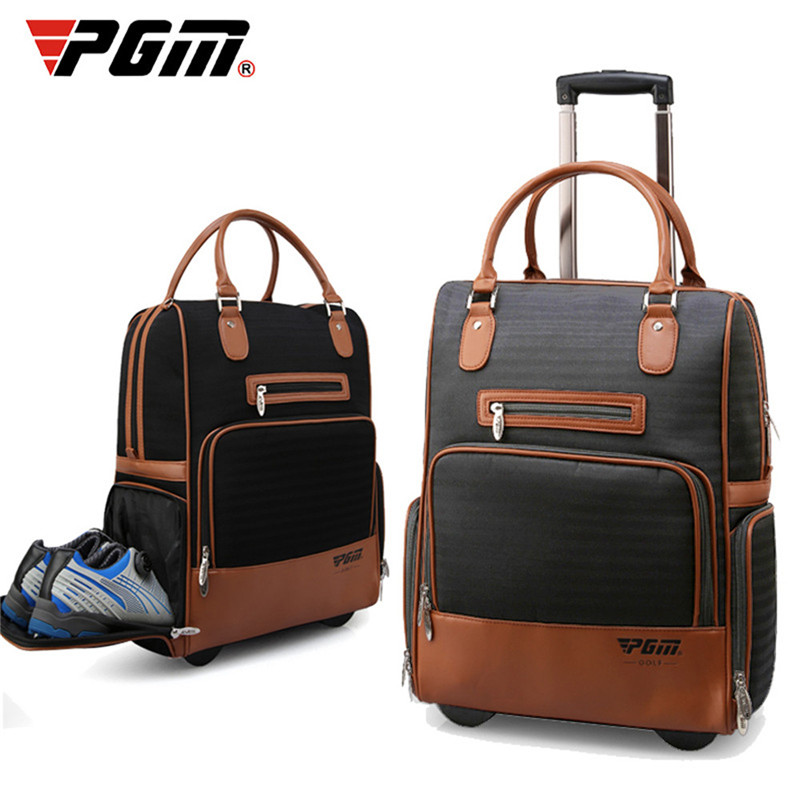 PGM New Nylon PU Golf Clothes Bag Durable Traveling Bag with Wheel Portable for Men and
