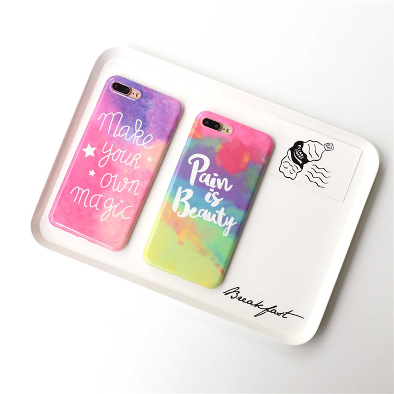 B&E Glossy Rainbow color phone Cases For iphone 6 6s 6plus 7 8Plus girl style soft silicon case tpu back cover capa protection