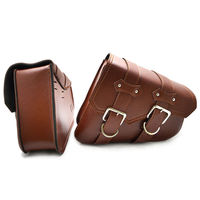GZRIVERRUN 2X Brown PU Leather Motorcycle Luggage Side Bag Saddlebag For Harley Davidson Sportster XL 883 XL 1200