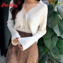 Peritiny Short Cardigan Women V-Neck Knitted Sweater Coat Long Sleeve Tops Single Breasted with Three Buttons Casual Cardigans(China)