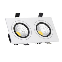 Super Bright 2 Head Square Dimmable LED Recessed Ceiling Downlight 10W 14W 18W 24W Led COB