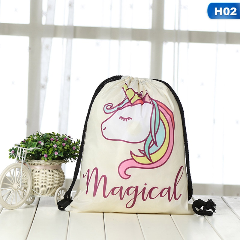 Pink Unicorn Softback Backpack Boy Girl Oxford Fabric Drawstring Bag Kids Favors Gifts For Birthday Party Decoration