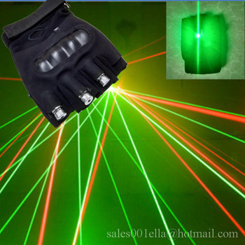 New Arrived 3 Pcs 532nm 80mw Green Red Lasers Christmas Laser Gloves With Led Green Palm Light  Gloves Stage Laser Show