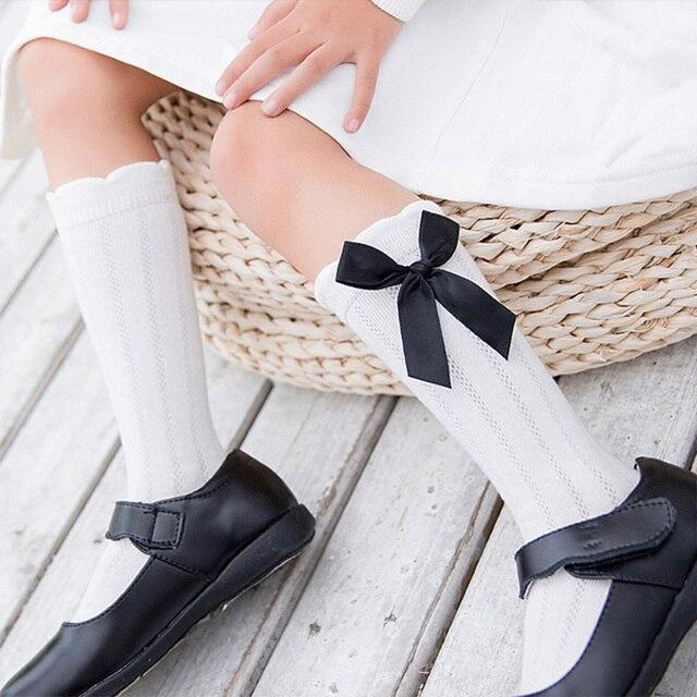 INPEPNOW 2019 School Kids Socks for Girls in School Socks for Children Socks Baby Cute Bow Mesh Cotton Knee Socks Girl WZ-CZX65 5