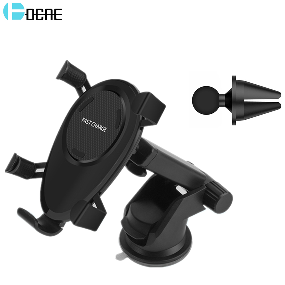 DCAE QI Car Wireless Charger Holder for iPhone 8 X Samsung Galaxy S9 S8 Note 8 10W Fast Charging Phone Stand Dashboard Air Vent