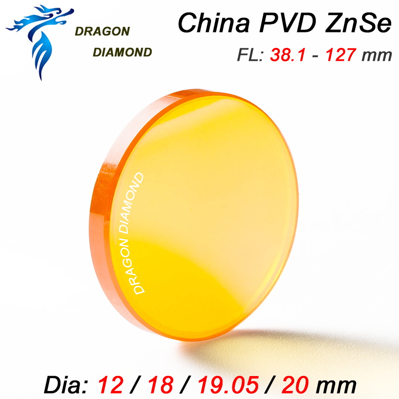 CN ZnSe PVD Focus Lens Dia 12mm 18mm 19.05mm 20mm FL 38.1 50.8 63.5 76.2 101.6mm For CO2 Laser Engraving Cutting Machine