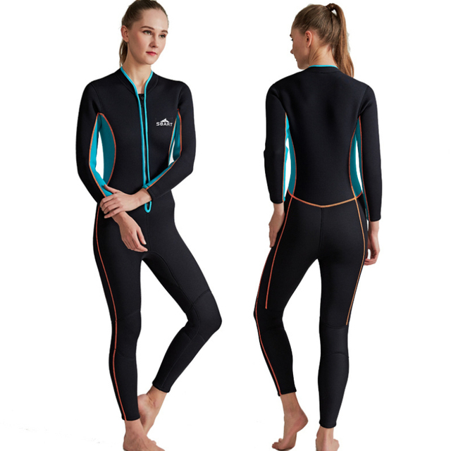 Sbart New One-Piece Neoprene 3MM Diving Suit Winter Long Sleeve Women Wetsuit Prevent Jellyfish Snorkeling Suit Free Shipping