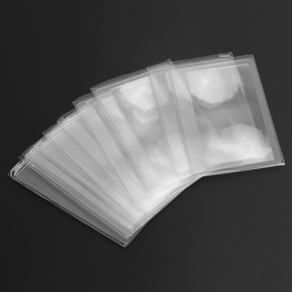 10 PCS Credit Card 3 X Magnifier Magnification Magnifying Fresnel LENS full page magnifying sheet fresnel lens 3x magnification pvc magnifier