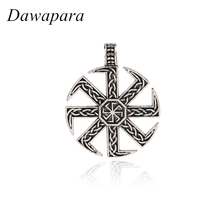 Dawapara Slavic Kolovrat Symbol Necklaces & Pendants Classic Ethnic Women Vintage Charms Accessories Metal Tags Jewelry