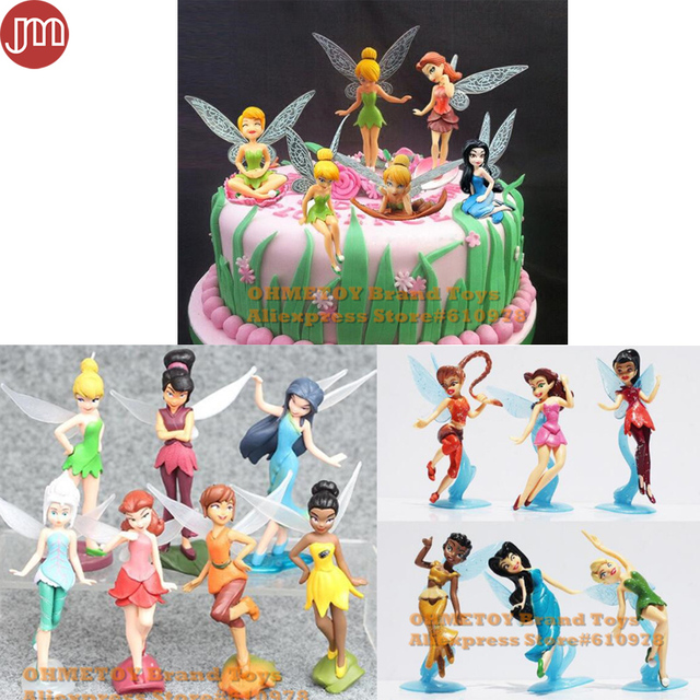 OHMETOY Tinkerbell Toys Flying Fairy Princess Mini Figure Tinker Bell Cake Toppers Wedding Decoration Kids Birthday Gift