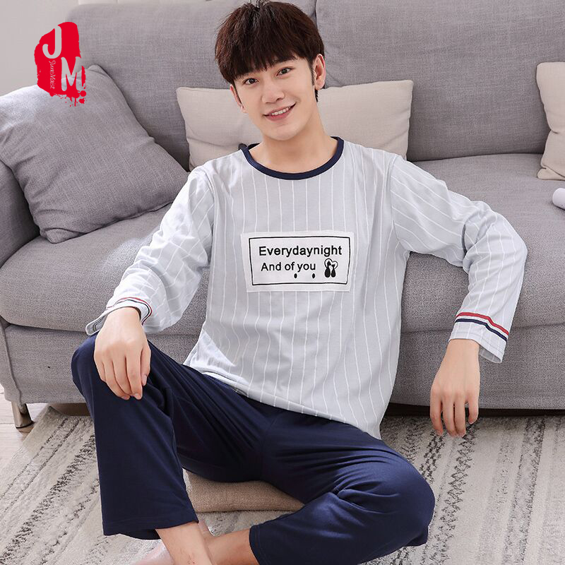 Pajama-Sets Sleepwear Letter Winter Striped Big-Size 100%Cotton Autumn XXXXL Man Casual