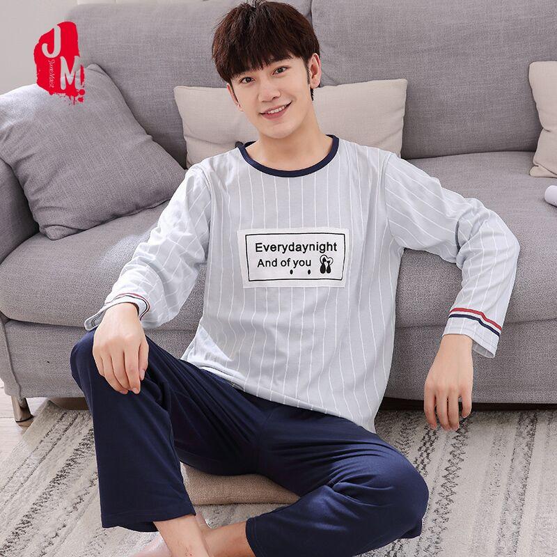 Autumn Winter Long Sleeve Man   Pajama     Sets   100% Cotton Striped Letter   Pajamas   Men Casual Sleepwear Homewear Big Size XXXXL Pijama
