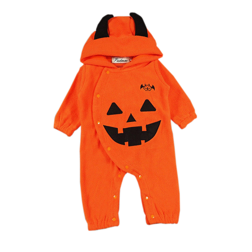 Lovely Halloween Costume Newborn Baby Romper Orange Infant Boy Girls Hooded Jumpsuit Kids Boys Girls Long Sleeve Clothes Outfits baby boy clothes kids bodysuit infant coverall newborn romper short sleeve polo shirt cotton children costume outfit suit