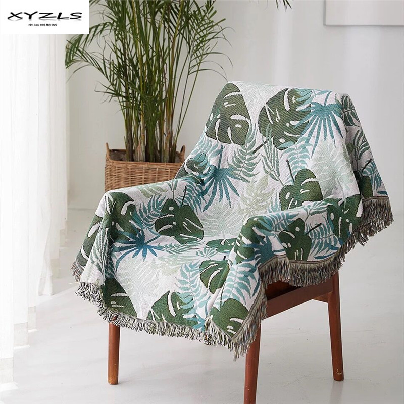 XYZLS Tropical Plants Knitting Throw Blanket With Tassels for Sofa Couch Decorative Slipcover Rectangular Travel Plane Blanket