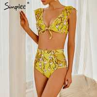 Simplee High waist floral print swimsuit separate female biquini Sexy yellow bikini set Push up swimwear women bathers Summer