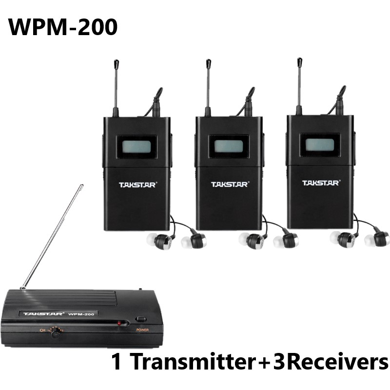 Takstar WPM 200 WPM200 Wireless Monitor System For Recording studio monitoring on stage monitoring 1 Transmitter