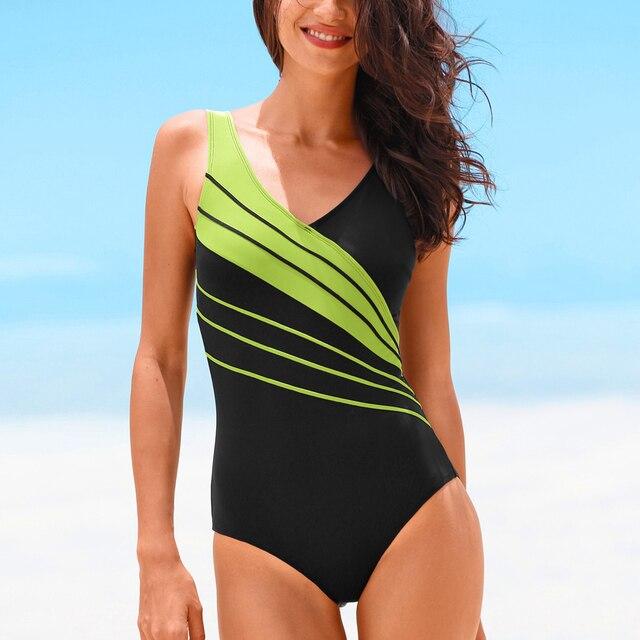 Hibkn one piece plus size swimsuit print one piece swimwear large sizes trikini plus size monokini V neck bathing suit 5