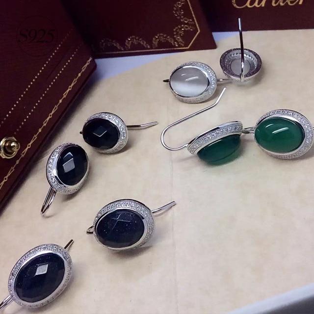 925 Sterling Silver Earrings female Black Onyx opal blue sand green chalcedony oval short exaggerated Earrings E1573