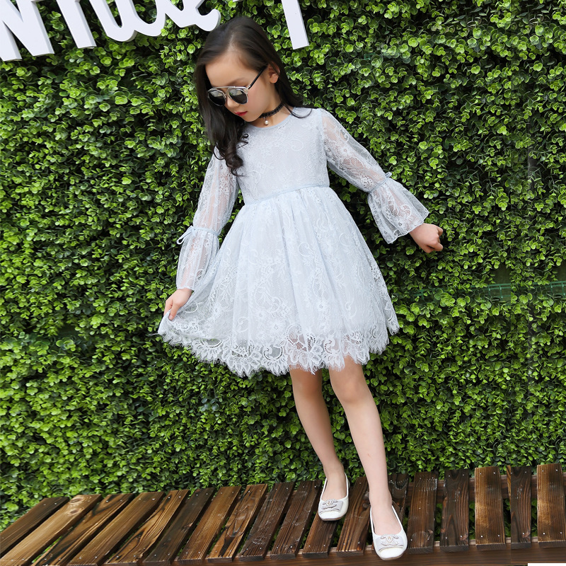 Girls Lace Princess Dress 2017 New Spring Summer Brand Kids Clothing Long Sleeve Striped Mesh Design Dress For Girls Clothes acthink 2017 new girls formal solid lace dress shirt brand princess style long sleeve t shirts for girls children clothing mc029