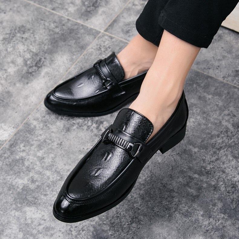 Pointu Noce De Mariage Chaussures Appartements Bureau Bout Noir Luxe Mocassins Habillées Hommes Mens nwm0N8