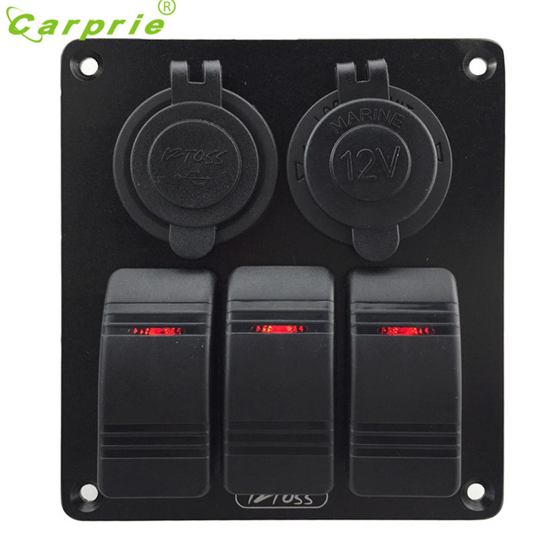 Waterproof 3 Gang Red Rocker Switch Panel+Power Socket+Double USB 3.1A Power Outlet Charger Socket For Marine Boat Car Apri28