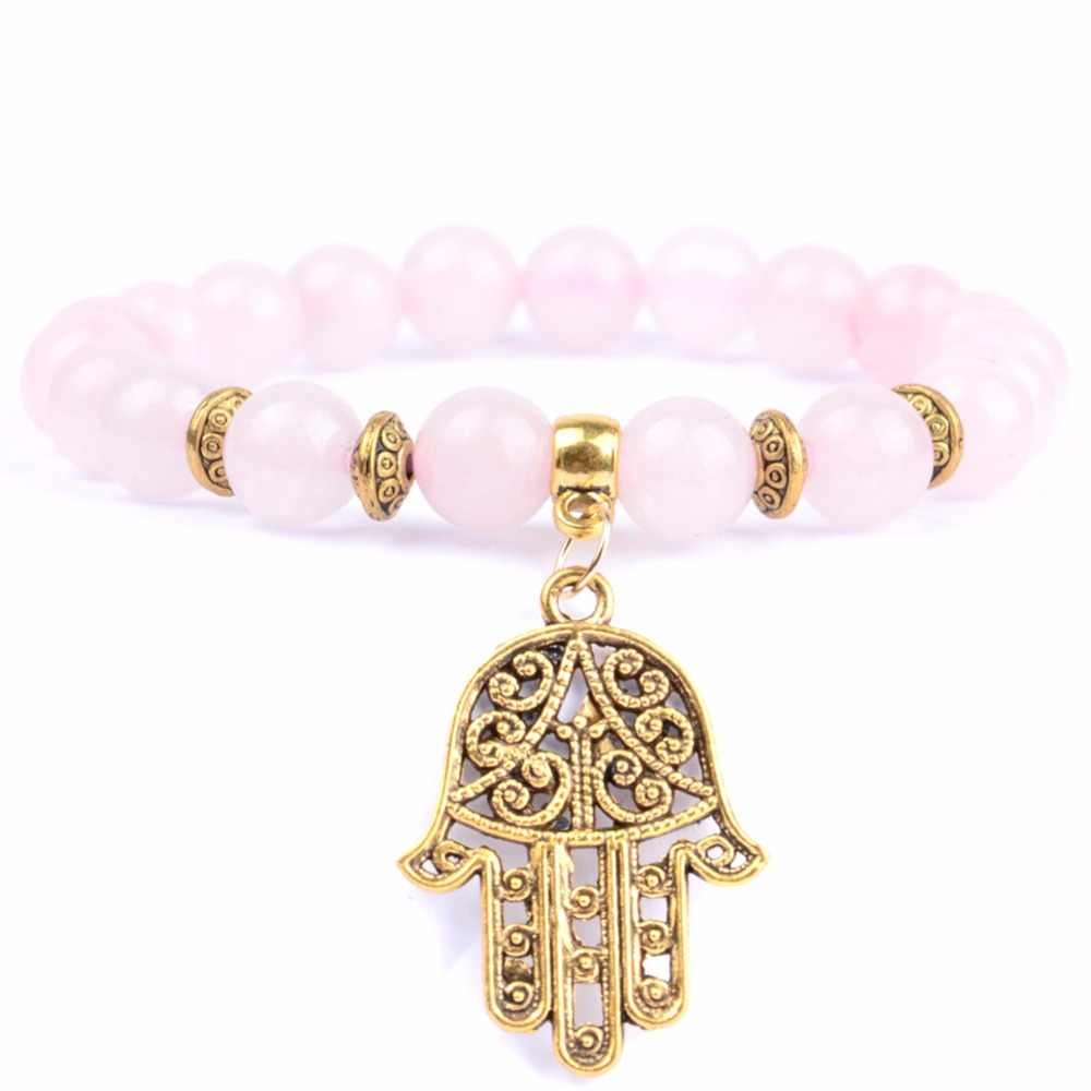 Natural Stone Rose Quartzs Beaded Bracelet Boho Golds Plated Hand Charm Bracelets For Women Men Buddha Yoga Jewelry Wholesale