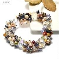 2019 Original Colorful Crystals Natural Pearls Women Bracelet Amethyst 925 Sterling Silver Pearl Handmade Bracelet