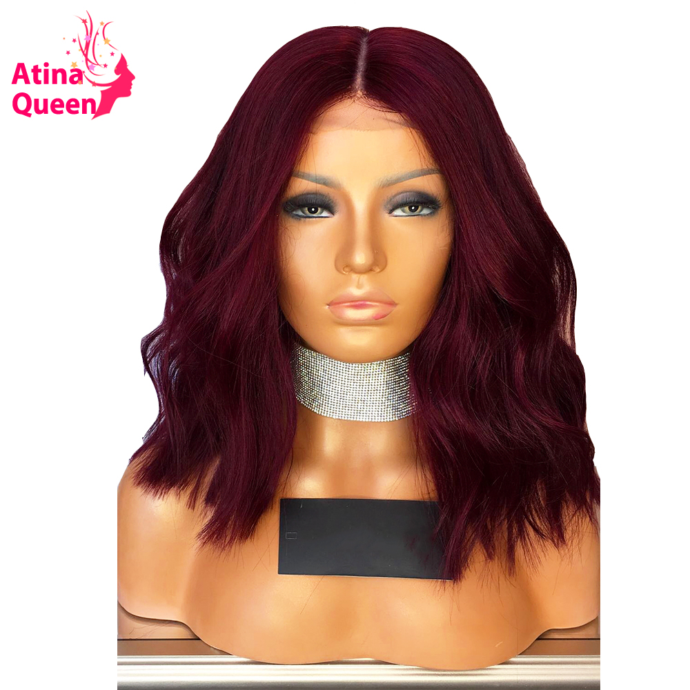 Atina Queen 180 Density Brazilian Cut Bob Lace Front Wig 99j Burgundy Remy Short Human Hair