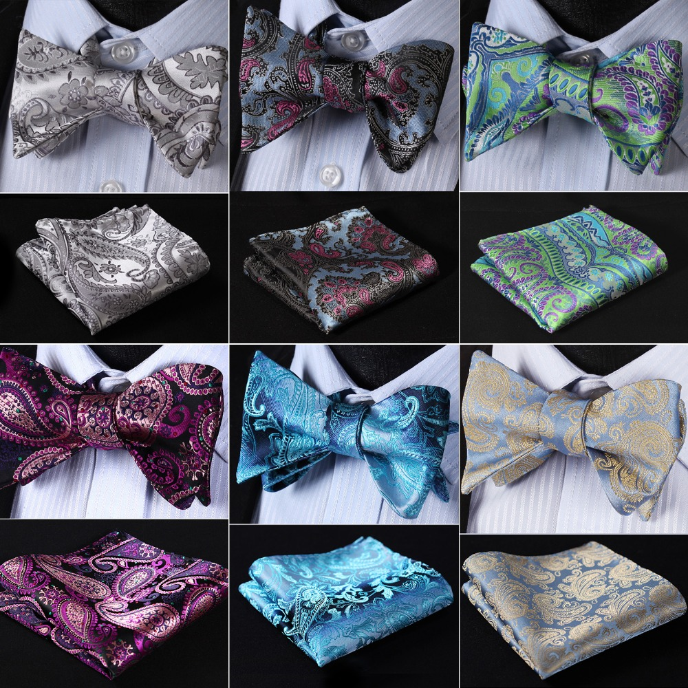 Floral 100%Silk Jacquard Woven Men Butterfly Self Bow Tie BowTie Pocket Square Handkerchief Hanky Suit Set #B4