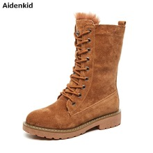 hot deal buy aidenkid scrub pigskin snow boots thick warm breathable women winter non-slip with wooden button - middle tube snow cotton boots