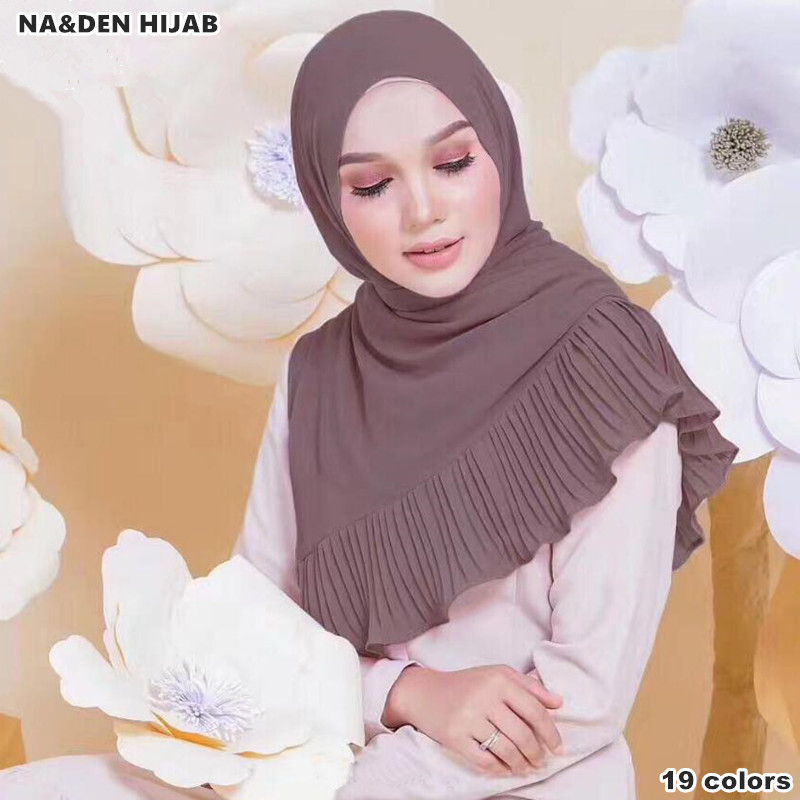NEW design Patchwork pleat bubble chiffon Wrinkle shawls hijab drape stitching muslim scarves scarf 19color pleated