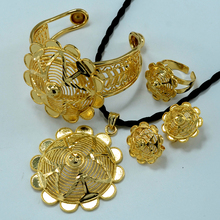 Habesha gold set jewelry popular ethiopian style necklace/earrings/ring/bangle  gold plated sudan jewellery eritrea #0005A200