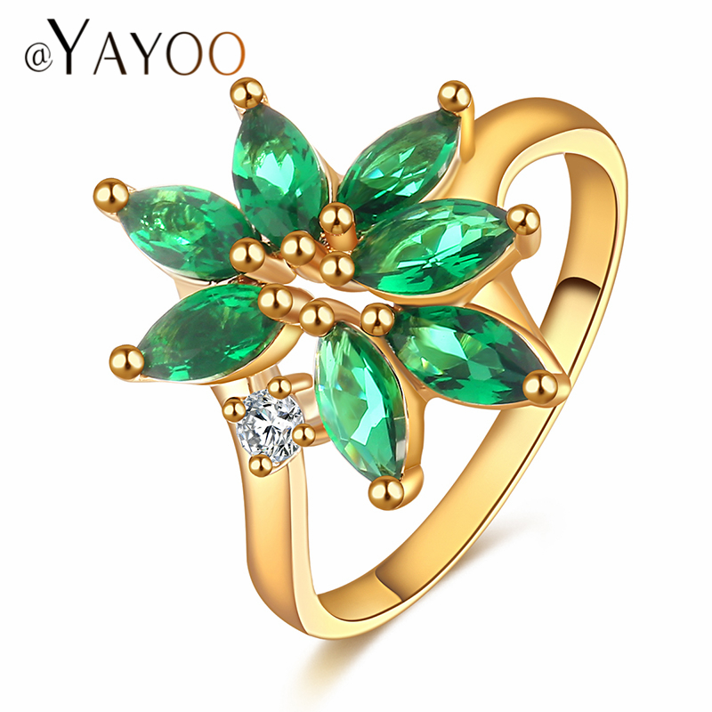 AYAYOO Wedding And Engagement Rings Set For Women Accessories Fashion Africa Cubic Zirconia Gold Color Trendy Party Jewelry