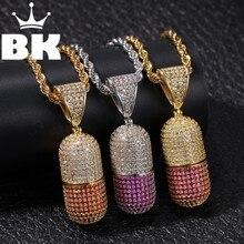 Collier Hip Hop THE BLING KING personnalisé, pilule qui peut être ouvert, plein glacé, zircone cubique or argent pierre CZ