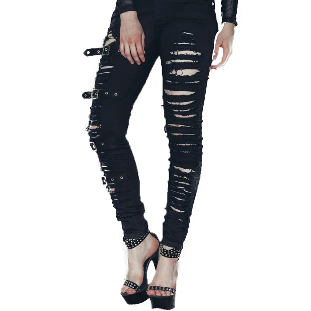 Hot Fashion Ladies Female Cotton Denim Ripped Hole Punk Cut out Women Sexy Skinny pants Jeans