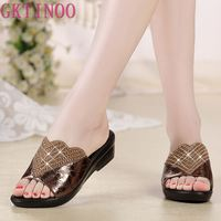 Women Sandals 2019 Summer Genuine leather Slippers Shoes Women Med Heels Sandals Large Size 10 11 Fashion Black Red Shoes S6309